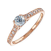 Золотое кольцо Взаимный выбор в красном цвете с фианитами  000115612 15.5 размер