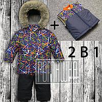 Зимний р 110 5-6 лет 2в1 парка + жилет детский раздельный термокомбинезон костюм на овчине для мальчика 5025