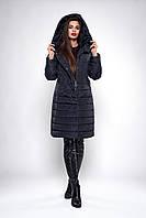 Стеганное зимнее женское темно-синее пальто размеры 50,52