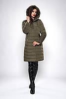 Длинная женская стеганная куртка-пальто с капюшоном хаки размеры 46,48,50,52