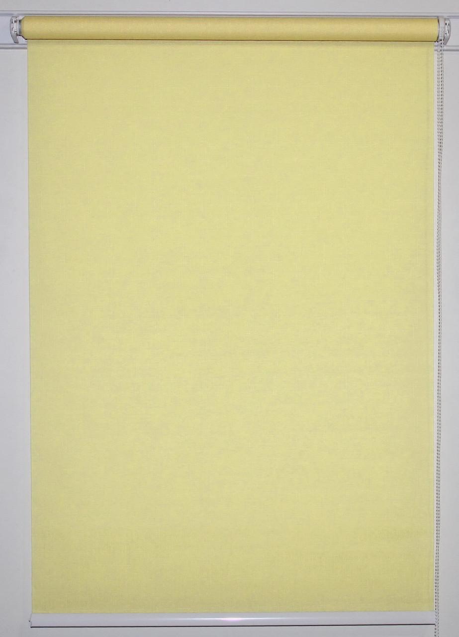 Рулонная штора 875*1500 Ткань Лён 2072 Ваниль