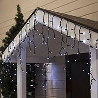Гирлянда Бахрома 5х0.7 м, 180 LED, холодно белая, с мерцанием, черный каучуковый провод, фото 1