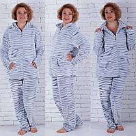 Тёплая женская пижама на молнии большие размеры