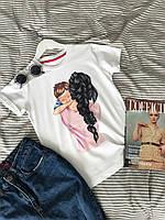 Женская футболка с принтом размер универсальный ткань турецкий хлопок (разные расцветки)