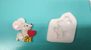 Молд Мышка с сердцем, мышь новогодний, 2020, символ года