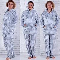 Женская пушистая пижама с капюшоном больших размеров