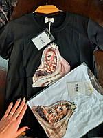 Женская футболка ткань коттон размер 42-46 (универсал) (белая, черная)