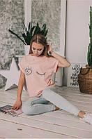 Женская футболка ткань х/б размер 42-46 (универсал) (белая, черная, бледно-розовая)