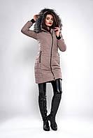 Бежевая женская зимняя куртка-пальто с капюшоном размеры М,ХХЛ