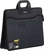 Чорний портфель Scholz для документів форматом В4, на три відділення. 5244