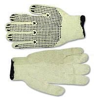 Перчатки вязанные с вкраплением белые, L