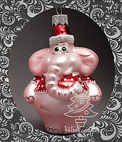 Стеклянная елочная игрушка Слоник розовый 377/с-1