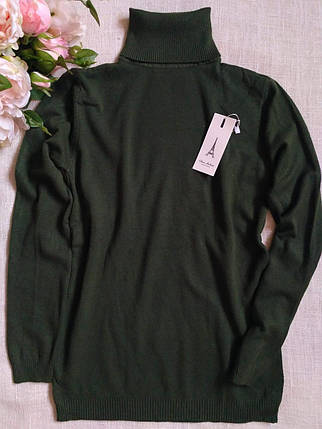 Зеленый гольф женский шерстяной с высоким горлом и манжетами S \ XL 40 42 44 46 48 водолазка женская хаки, фото 2