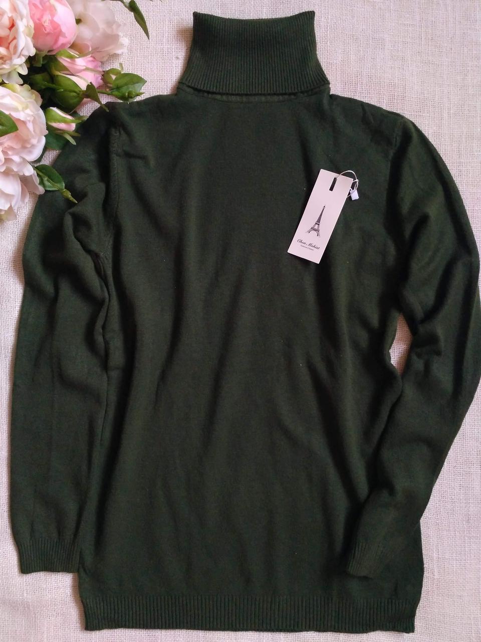 Зеленый гольф женский шерстяной с высоким горлом и манжетами S \ XL 40 42 44 46 48 водолазка женская хаки