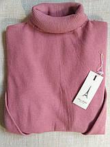 Розовый гольф женский шерстяной с высоким горлом и манжетами размер до 48го водолазка женская фрез, фото 3
