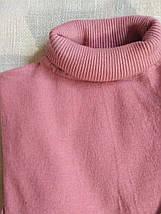 Розовый гольф женский шерстяной с высоким горлом и манжетами размер до 48го водолазка женская фрез, фото 2