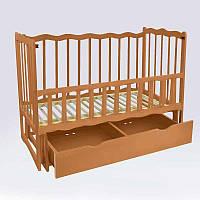 Кроватка деревян. маятникшухляда - откидной, Волна (1) ольха - цвет светло-коричневый - 180444