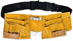 Пояс для инструмента кожаный, 10 отделений