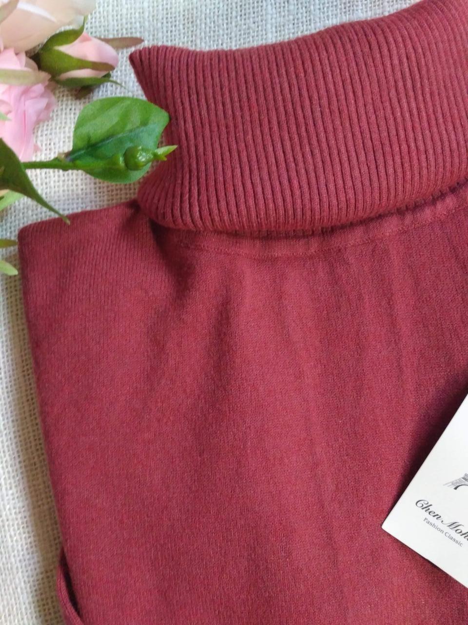 Темно-розовый гольф женский теплая мягкая на размеры до 48го водолазка женская розовая