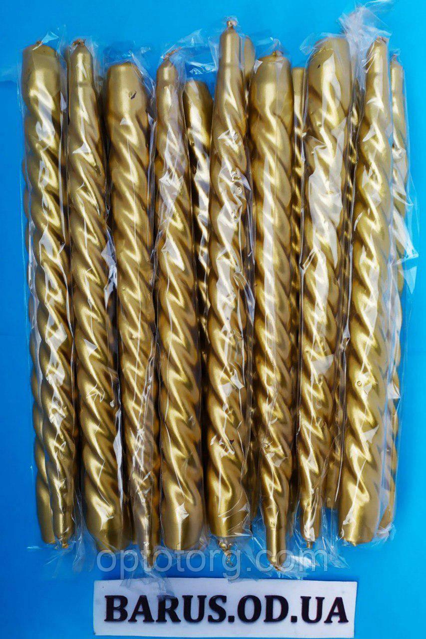 Свечи декоративные перламутр золото 25 см 45 штук