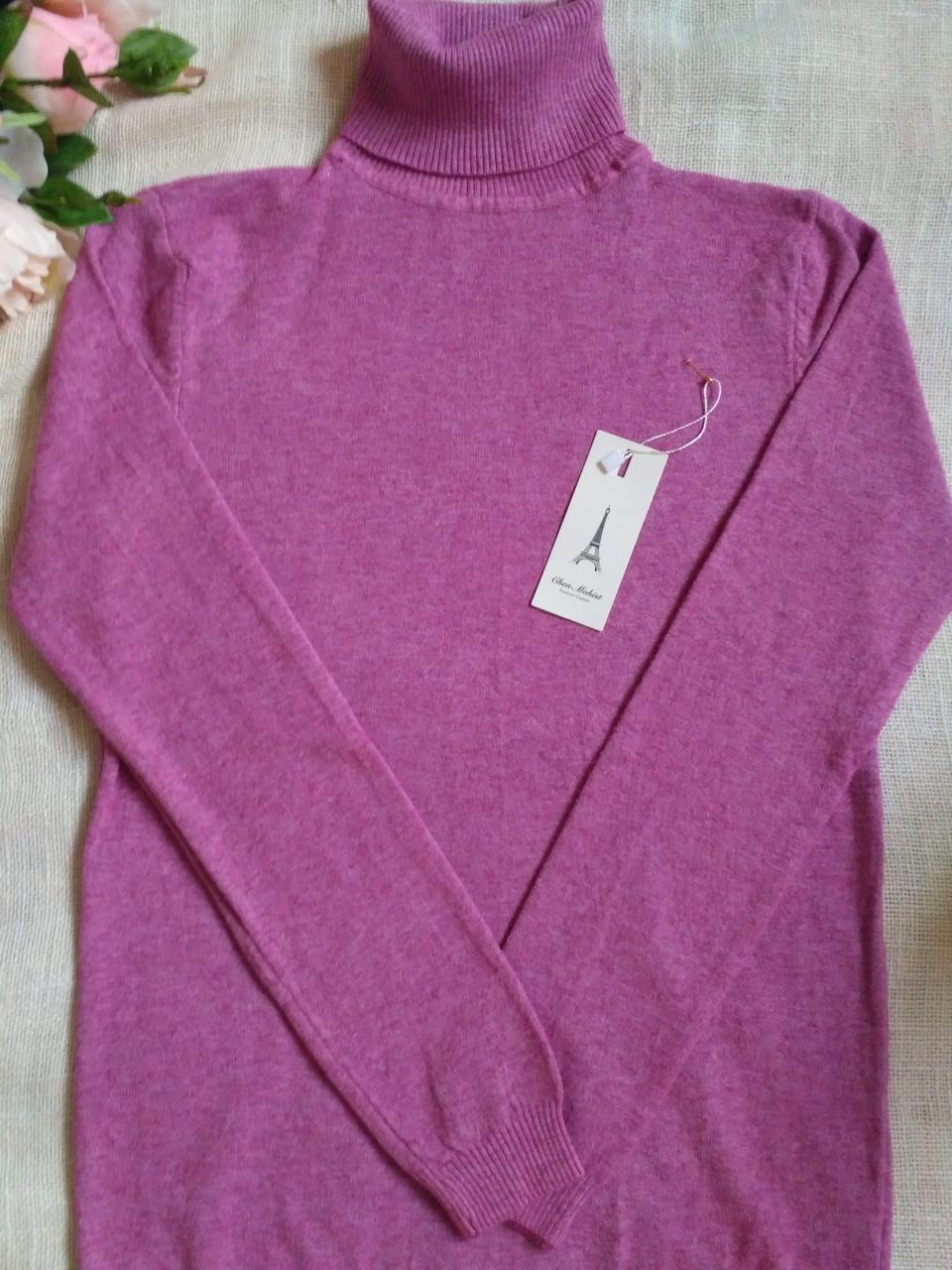 Сиреневый гольф женский зимний розовый водолазка женская розовая размер до 48го универсальный
