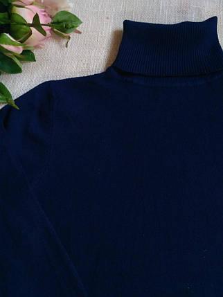 Синий гольф женский шерстяной базовый теплый S \ XL 40 42 44 46 48 водолазка женская синяя, фото 2