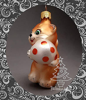 Стеклянная елочная игрушка Котенок с мячом 82/м-в, фото 2