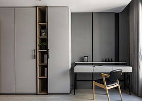 Шкаф серый с столиком туалетным из метала