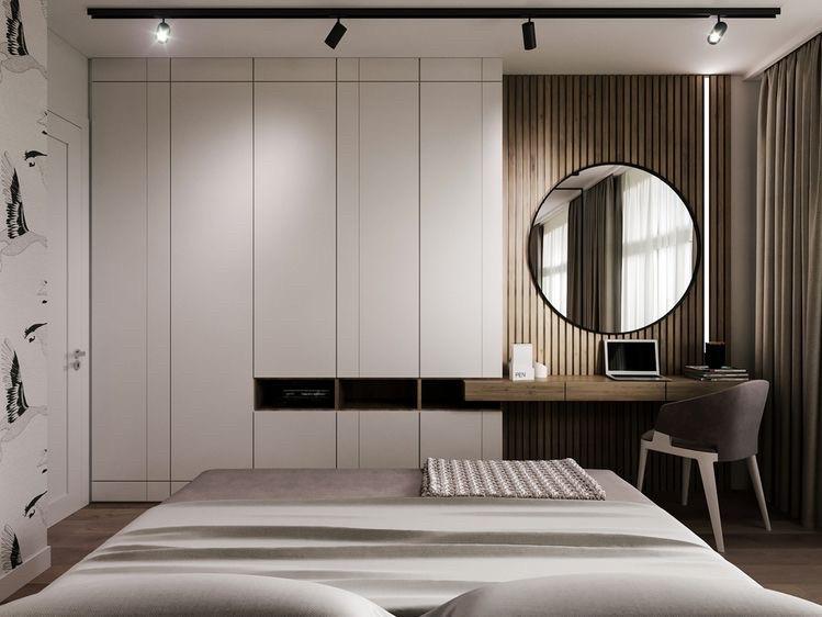 Шкаф белый с столиком туалетным под дерево и зеркалом