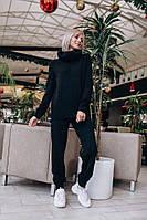 Женский вязаный костюм (беж, чёрный, морская волна, слива, мокко) Черный