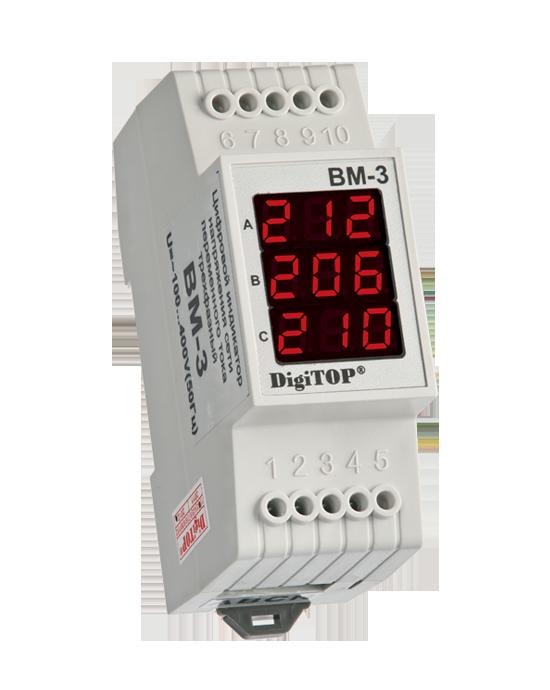 Вольтметр цифровой ВМ-3 DIN три фазы (переменный ток)
