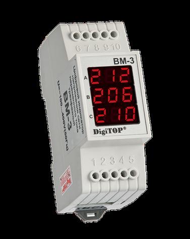 Вольтметр цифровой ВМ-3 DIN три фазы (переменный ток), фото 2