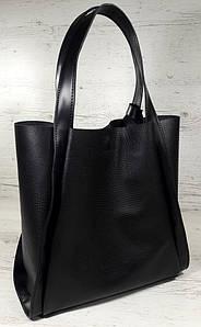 151-2 Натуральная кожа Формат А4+ Шоппер Женская сумка черная на плечо кожаная натуральная Размер А-4 сумка