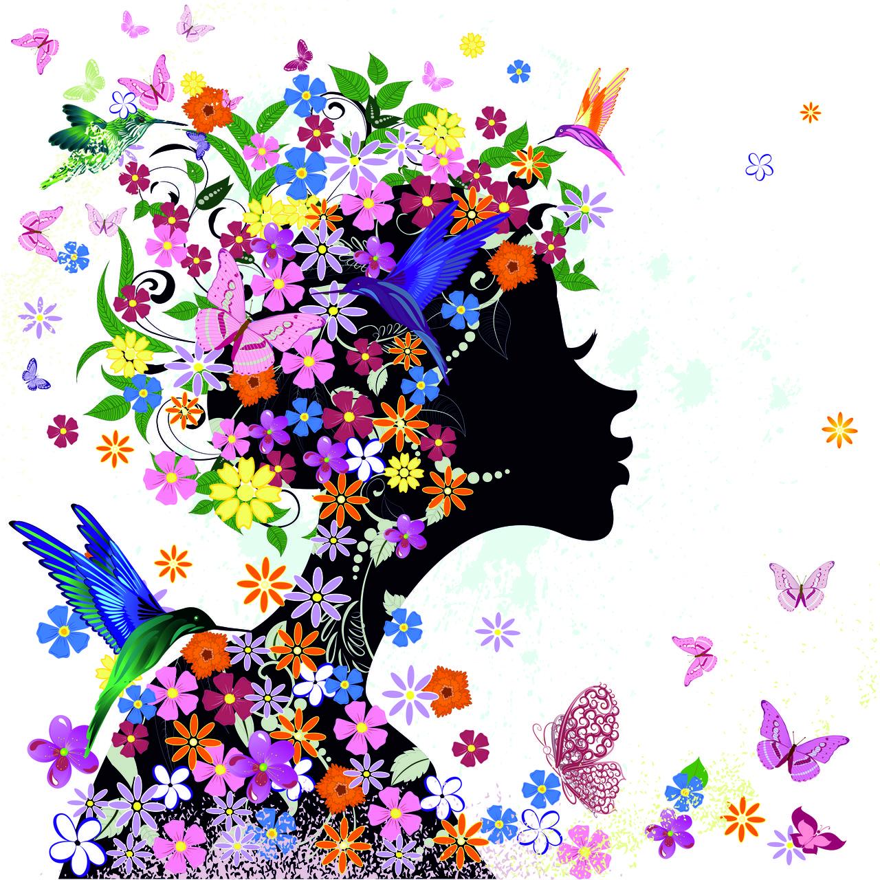 """Картина под заказ """"Девушка, цветы и птицы"""""""