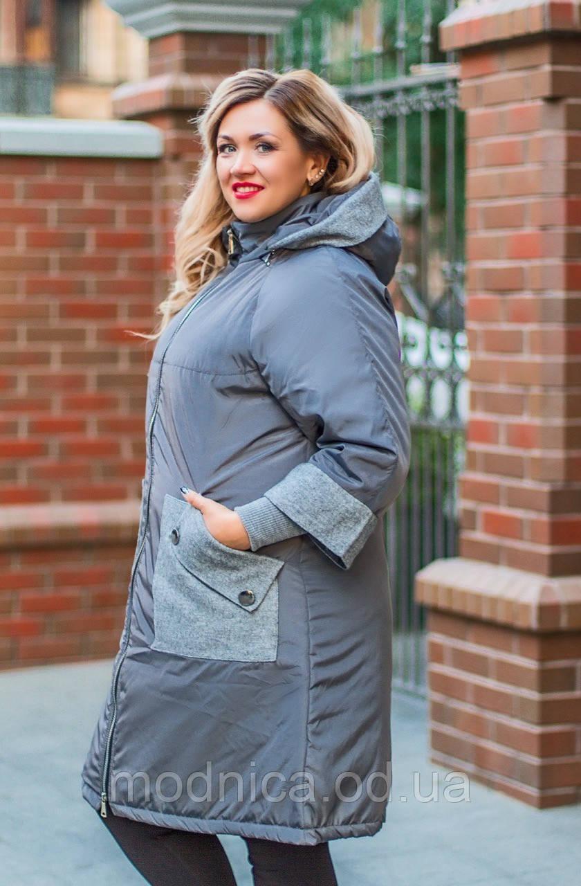Женская зимняя куртка на синтепоне с капюшоном батал, размеры 52-54, 56-58, 60-62, 64-66