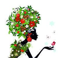 """Картина из холста с подрамником """"Девушка с листьями и шишками"""""""