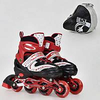 Ролики 1003 L Best Roller, размер 38-41 цвет-КРАСНЫЙ 6 колеса PU, Переднее Колесо Свет, в сумке, d7см - 185888