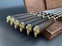 Шампуры Секач комплект шампуров с деревянными ручками в футляр коричневый кожзам ручная работа 6 шт