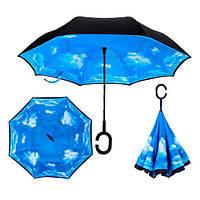 Зонт обратного сложения Up-brella Голубое небо зонт наоборот, фото 1