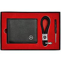 Набор Кожаных Аксессуаров с эмблемой Mercedes: Кошелек двойного сложения и плетеный брелок, фото 1