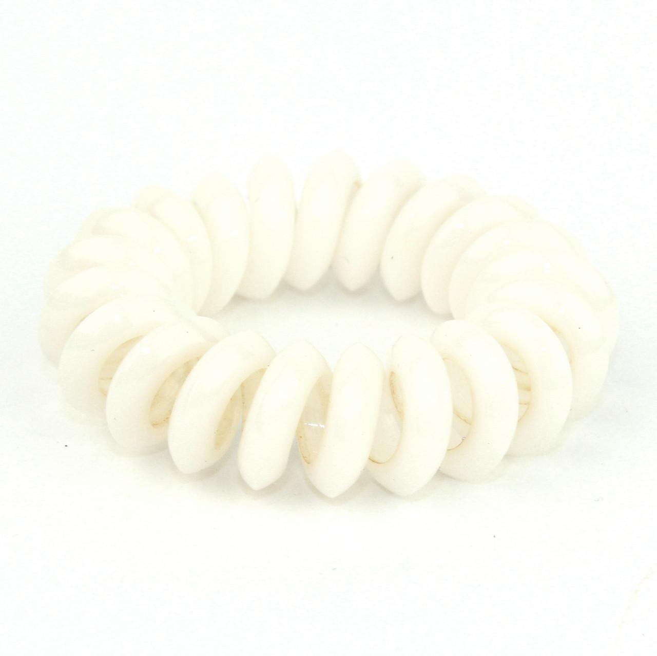 """Резинка для волос классическая спираль """"Провод от телефона"""" белая"""