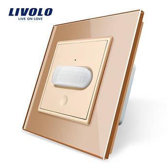 Сенсорный выключатель с датчиком движения Livolo золото стекло (VL-C701RG-13)