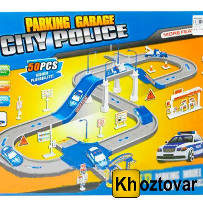 Детская гоночная дорога Parking Garage City Police | Автотрек 50 деталей