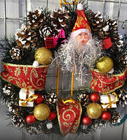 Новогодний Венок С Декором Из Хвои И Фигуркой Дед Мороза Рождественский Венок 0066
