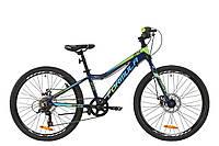 """Велосипед подростковый 24"""" Formula ACID 1.0 DD 2020 (рама 12"""", синий с салатовым)"""