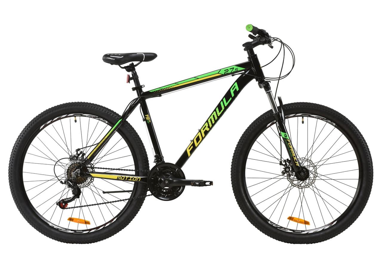 """Велосипед горный 27.5"""" Formula MOTION DD 2020 (рама 19"""" черно-салатовый)"""