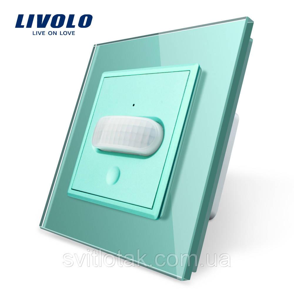 Сенсорный выключатель с датчиком движения Livolo зеленый стекло (VL-C701RG-18)