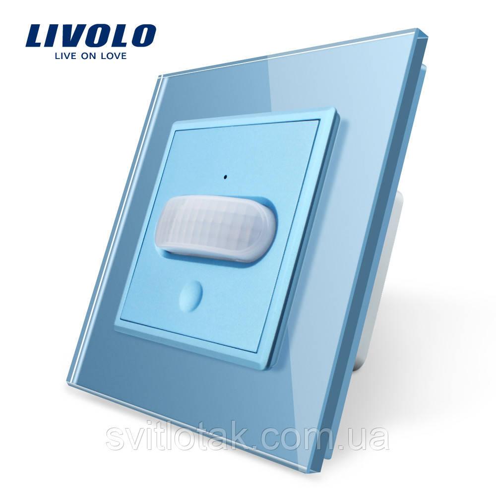 Сенсорний вимикач з датчиком руху Livolo блакитний скло (VL-C701RG-19)