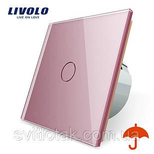 Сенсорный выключатель Livolo для улицы с защитой от брызг IP44 розовый стекло (VL-C701IP-17)
