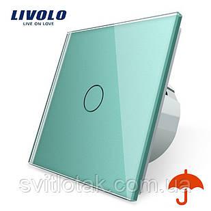 Сенсорный выключатель Livolo для улицы с защитой от брызг IP44 зеленый стекло (VL-C701IP-18)